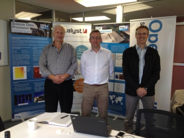 (L-R) Nicolás Erdödy (CEO, Open Parallel), Simon Berry (Director of Policy, SKA Organisation, UK),  Don Christie (Director, Catalyst) at Catalyst's HQ in Wellington, during Mr. Berry's visit to New Zealand.